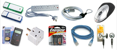 Accessories: Batteries, Mouse, Plugs, Power Strips, Calculator, headphones